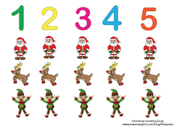 five santas poster sample